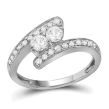 10kt White Gold Round Diamond 2-stone Bridal Wedding Engagement Ring 5/8... - £790.25 GBP