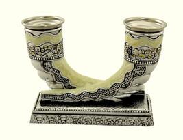 Judaica Silver Plated Enamel Candlestick Holder Shofar Shabbat Holiday Horn