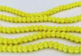50 6 mm Czech Glass Baby Bell Flower Beads: Coral Lemon - $3.83