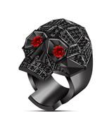 Mens Skull Wedding Anniversary Ring Red Garnet 14k Black Gold Finish 925... - $119.17
