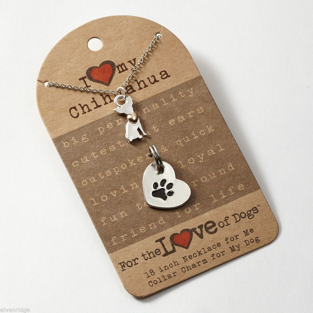 Chihuahua Necklace w gold heart w charm for your dog's collar SET