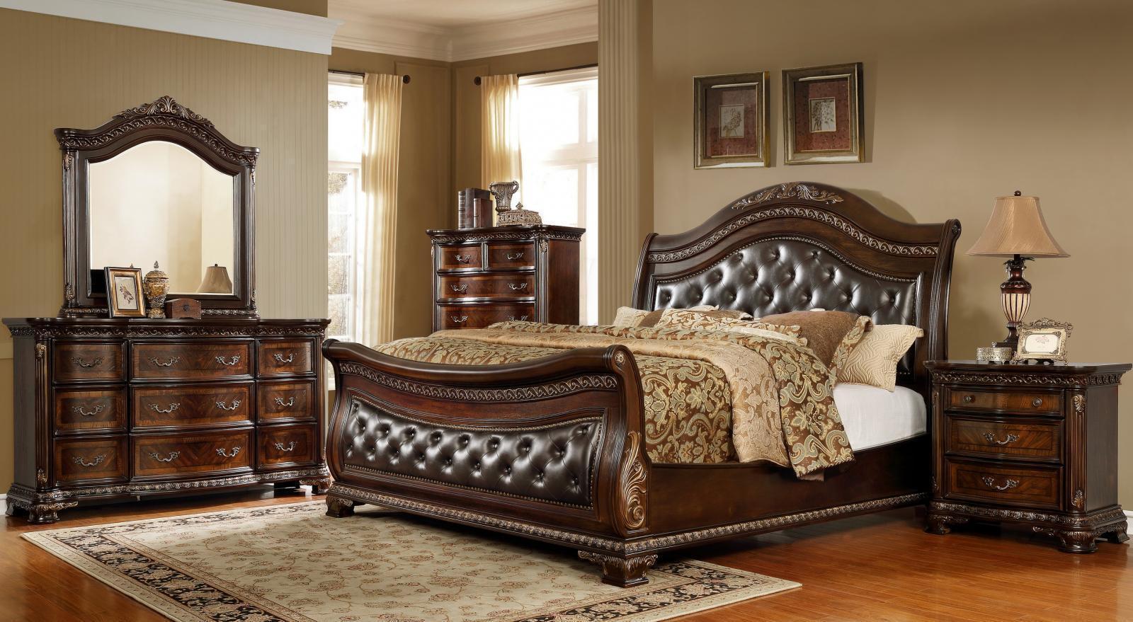 McFerran B9588 Cherry Leather Headboard Sleigh King Size Bedroom Set 5Pcs