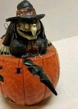 VINTAGE RODNEY W. LEESEBERG 1998 Halloween Witch Pumpkin Bats #15 - $30.00