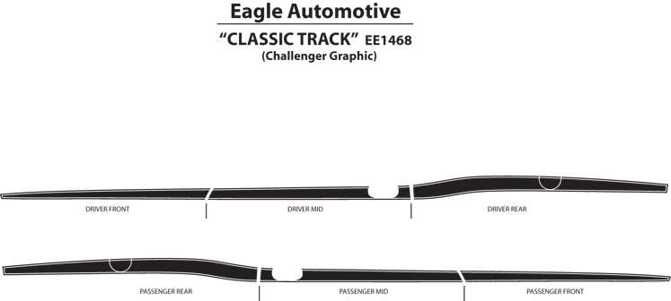 Dodge Challenger CLASSIC TRACK Stripes 3M Decals 08 09 10 11