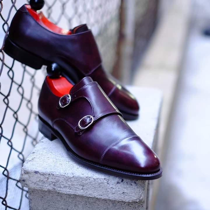 Handmade Men's Maroon Monk Strap Double Dress/Formal Leather Shoes