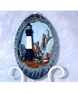 Decorated Emu Egg Tybee Island Lighthouse, Collectible Egg Art, Lighthouse Egg - $125.00