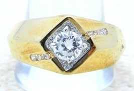 Gold Tone LIND 14k HGE Clear Rhinestone Mens Ring Size 12.75 Vintage - $35.64