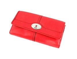 FOSSIL Maddox Pebble Red Leather Trifold Womens Wallet  - $25.97