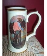RARE! GORHAM Cowboy & Horse Sharing An Apple Stein -Tom Ryan - $59.95