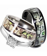 His TITANIUM Camo & Hers STERLING SILVER Wedding Rings Set Camouflage Black 3pcs - $39.99