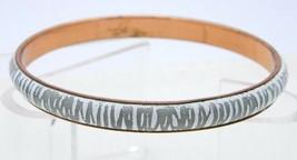 VTG MATISSE RENOIR White Grey Gray Stripe Enamel Copper Bangle Bracelet - $74.25