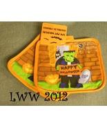 2 Orange Frankenstein Happy Halloween jack-o-lantern Pumpkin Pot Holder ... - $4.50