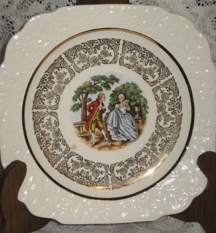 "Porcelain Square Bread & Butter -22 K -Godey""s Colonial Couple-Harker Pottery US"