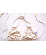 Playboy Halter Bikini Top White with Gold Halter Bikini Top NWOT Sz S M - $39.99