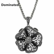 DOMINATED Elegant Flower Themed Ladies Necklace / Pendant - Chain, CZ - $10.99
