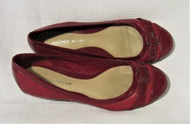 Antonio Melani Red Quilted Leather Ballet Flats Shoes 8.5 M