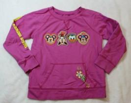 Disney Parks Girls Sweatshirt Sz M Pink Mickey Goofy Donald Minnie Pocket Casual - $17.81