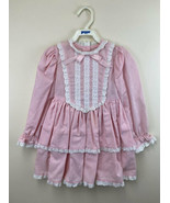 Custom Vintage 2T 3T Pink White Swiss Dot Tiered Eyelet Ribbon Dress 80's - $29.99