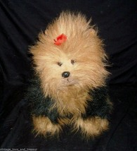 "13"" Vintage Ty 1990 Puppy Dog Yorkie Yorkshire Fuzzy Stuffed Animal Plush Toy - $23.38"