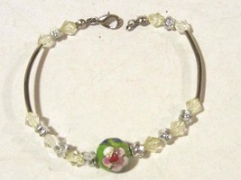 Lovely bracelet with cloisonne bead charm - $4.00