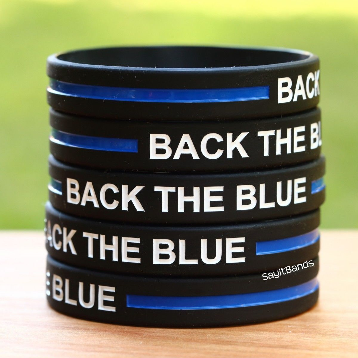 Primary image for Ten (10) BACK THE BLUE Thin Blue Line Wristbands - Show Police Support
