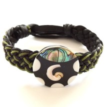 GREEN BLACK LEATHER WOVEN TIE ON FRIENDSHIP BRACELET WITH ABALONE SHELL ... - $9.45