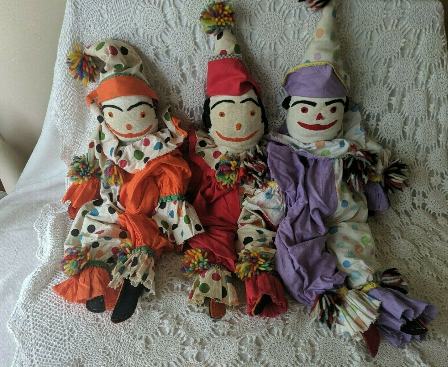 "Primary image for Handmade Cloth Decorative Clown Dolls Set of 3 27"" -29"" Tall"