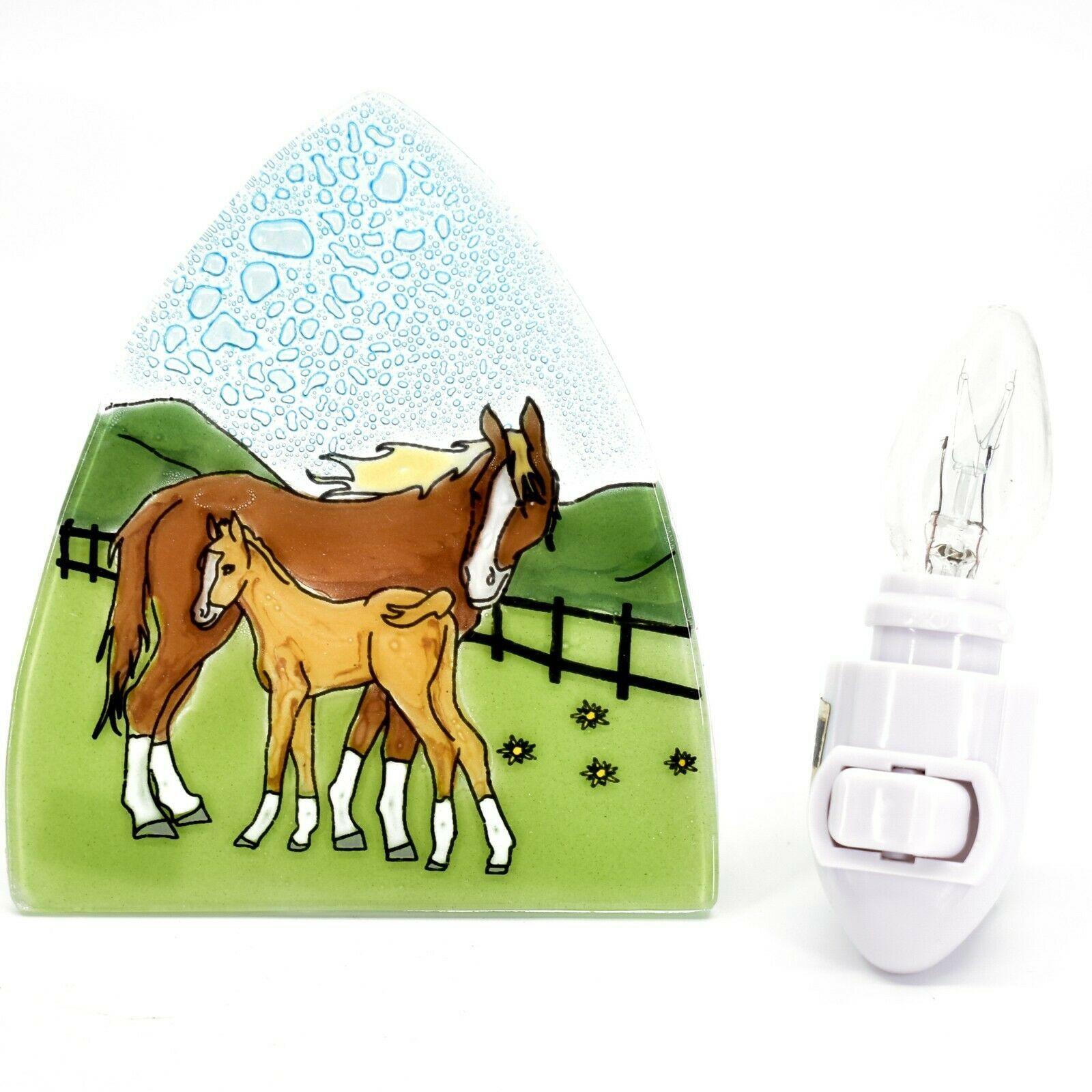 Fused Art Glass Mare & Foal Horse Nightlight Night Light Handmade in Ecuador