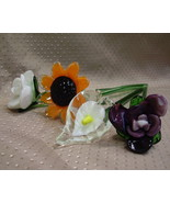 Glass flower bouquet, 4 flowers - glass stems - 12 in. - calla lilly/sunflower + - $19.95