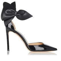Jimmy Choo KELLEY Bow Pointy Toe Pumps Black Leather Heels Shoes 37.5 Sa... - $539.00
