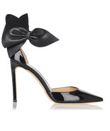 Jimmy Choo KELLEY Bow Pointy Toe Pumps Black Leather Heels Shoes 37.5 Sa... - $711.96 CAD