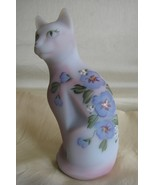 Fenton Stylized Cat In Blue Burmese with Hand Painted Hibiscus [#5065] - $37.50