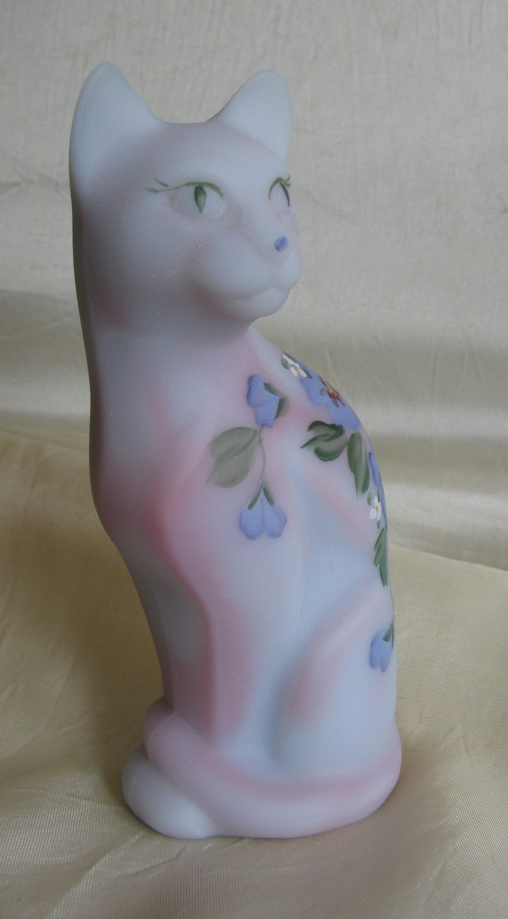 Fenton Stylized Cat In Blue Burmese with Hand Painted Hibiscus [#5065]