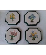 "Set of 4 Ceramic Flower Classification Wall Plaques Kitchen Decor 6 1/2"" - $29.69"