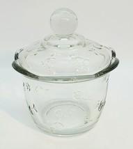 Anchor Hocking Savannah Sugar Bowl Simple Floral Embossed Clear Glass w/... - $14.52