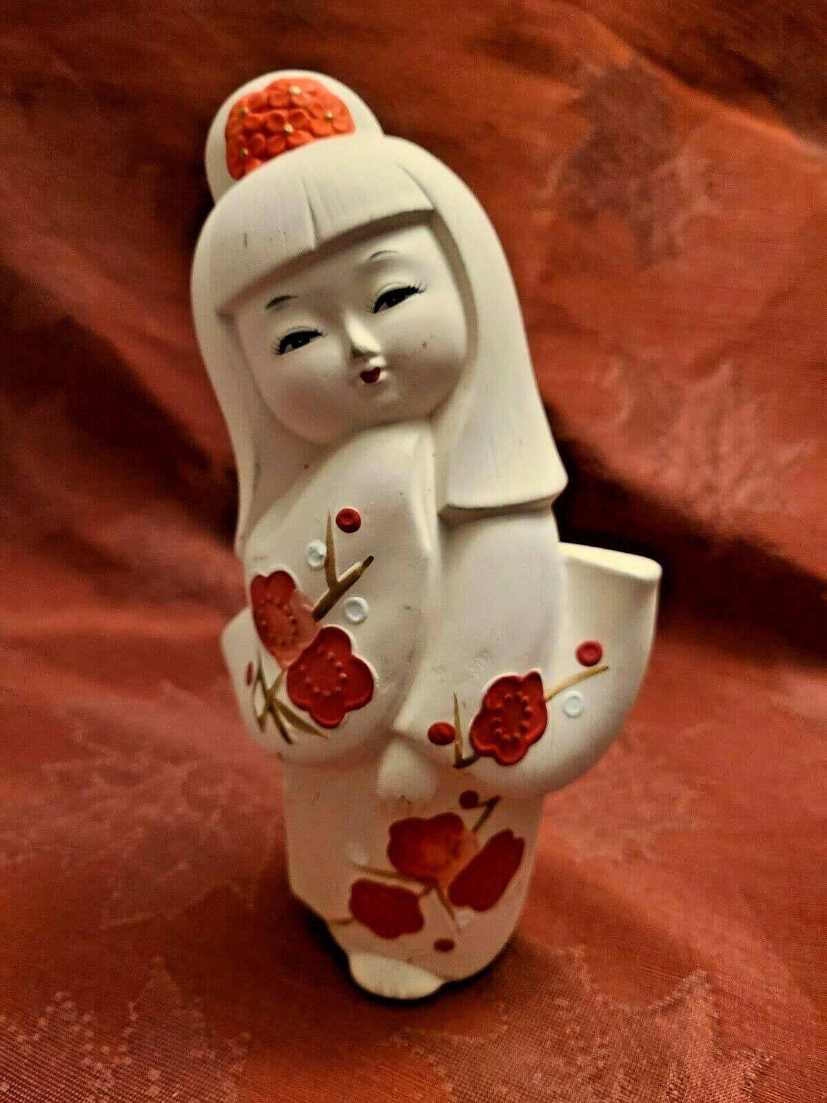 "Vintage Ceramic Japanese Geisha Doll Statute Figure KawaiI Cute 7.5"" Made Japan"