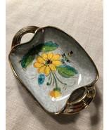 Vintage Porcelain Hand-painted Trinket Dish With Gold Trim Handles Made ... - $39.59