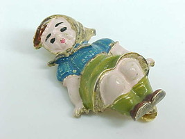 Rare Hummel Like Girl Vintage Brooch Pin In Sterling And Gold Vermeil   Creed - $135.00