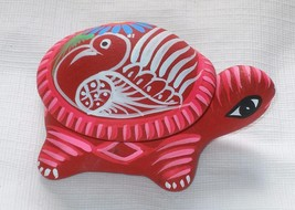 Ceramic Clay Turtle Figurine Small Trinket Keeper Hand-painted Mexican A... - $6.93