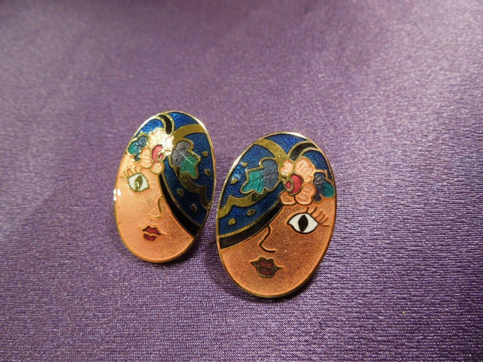 Vintage Enamel Gypsy Fortune Teller Face W/ Scarf Over Eye Oval Stud Earrings image 2