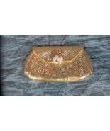 Vintage Whiting Davis GOLD MESH Clam Shell Clutch w/ Rhinestone Clasp - $16.69
