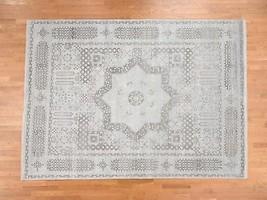 "9'x12'3"" Pure Silk With Oxidized Wool Mamluk Design Handmade Oriental Ru... - $5,129.19"