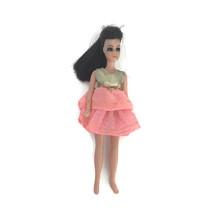 Vintage 1970 Topper Dawn Doll Angie #10 Gold Lame Pink Mini Dress Brunette - $32.68