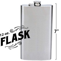 12 oz. Hip Flask Large Ounce Jumbo Big Drinking Drink Stainless Steel Al... - $6.60