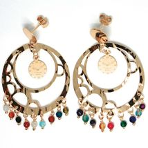 Drop Earrings Silver 925, Watch, le Favole, Agate Blue, Disco Perforated image 4