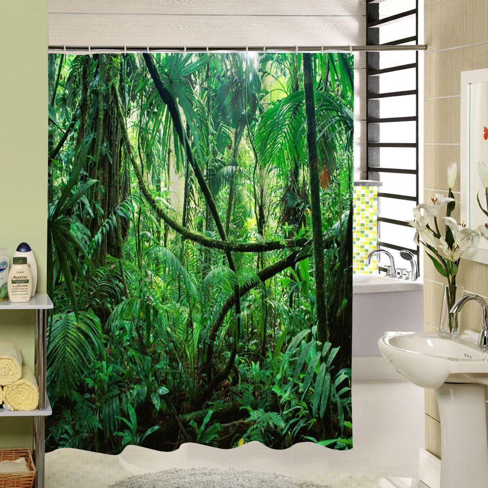 SPA Waterproof Shower Curtain Bathroom Decor Jasmine Flower Decorations Green Ba