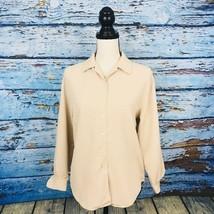 Talbots Women's Blouse Petites Size 4 Beige Button Down Long Sleeve - $12.16