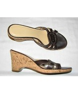 9 M Anne Taylor Loft Brown Leather Wedge Ladies Shoes High Heel Sandals ... - $19.99
