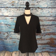 NWT Ann Taylor Womens Blouse Black Size 2 Bejeweled Collar 2 Neck Clasps - $15.85