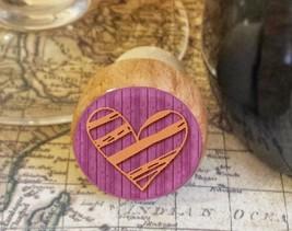 Wine Stopper, Orange Handrawn Heart Handmade Wood Bottle Stopper, Valent... - $8.86